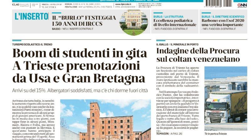 COPERTINA de IL PICCOLO - Giornale di Trieste del 5 aprile 2019