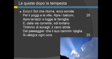 La quiete dopo la tempesta di Giacomo Leopardi