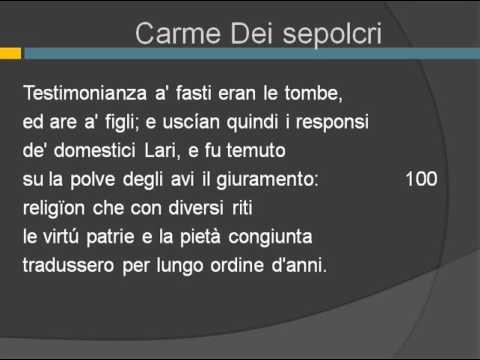 Seconda parte del Carme dei Sepolcri vv. 91-172