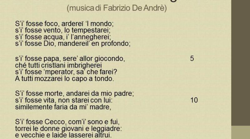S'i fosse foco di Cecco Angiolieri musicata da Fabrizio De Andre'