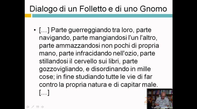 Dialogo di un Folletto e di uno Gnomo – Giacomo Leopardi – Lezioni di letteratura dell'ottocento