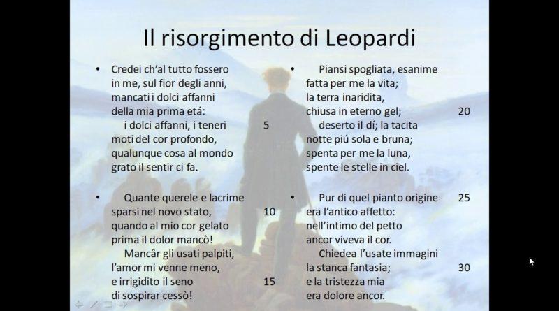 Il risorgimento di Giacomo Leopardi