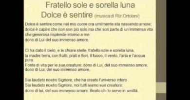 Fratello sole sorella l'una (Dolce e' sentire) cover di Claudio Baglioni. Musica di Riz Ortolani