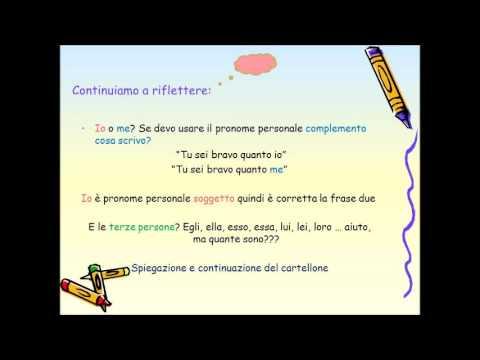 Il pronome e le sue funzioni; i pronomi personali