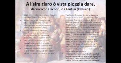 A l'aire claro o' vista pl'oggia dare di Giacomo (Jacopo) da Lentini