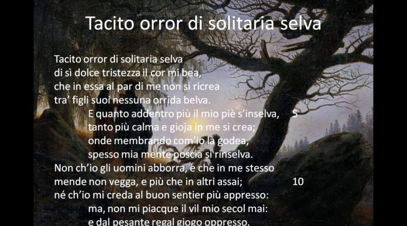 Tacito orror di solitaria selva di Vittorio Alfieri