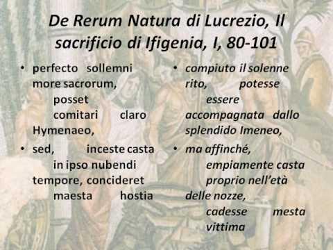 Sacrificio di Ifigenia Versi 95-101 del Primo libro del De rerum natura di Lucrezio