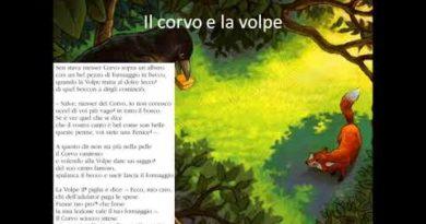 La favola la fiaba e due favole di Fedro: La volpe e il corvo e Le rane chiedono un re