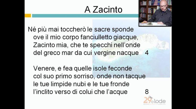 A Zacinto – Ugo Foscolo – Lezioni di Letteratura dell'Ottocento – 29elode.it