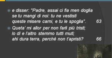 Canto trentatreesimo dell' Inferno vv. 37-75 e canzone Conte Ugolino di Luigi Gaudio