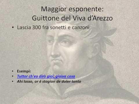 Primi 60 versi della canzone Ora parra' s'eo savero' cantare di Guittone d'Arezzo